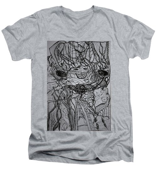 Men's V-Neck T-Shirt featuring the drawing Shango by Gloria Ssali