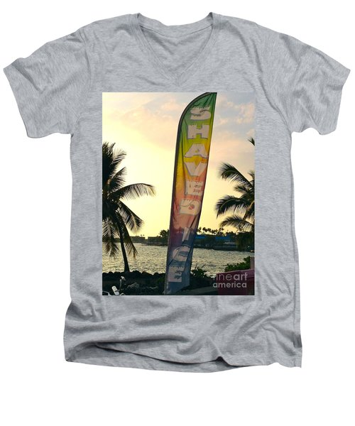 Men's V-Neck T-Shirt featuring the photograph Shaved Ice by Beth Saffer