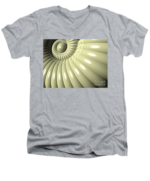 Men's V-Neck T-Shirt featuring the digital art Shell Of Repetition by Phil Perkins