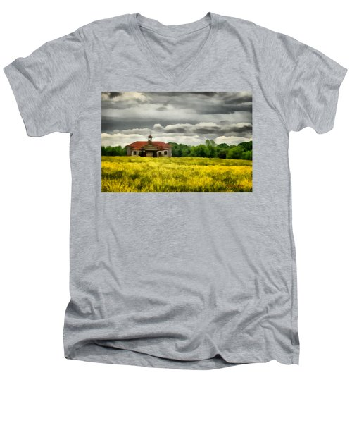 Men's V-Neck T-Shirt featuring the painting Shiloh School by Lynne Jenkins