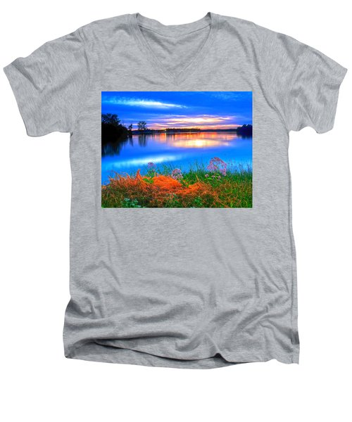 Men's V-Neck T-Shirt featuring the photograph Shoreline Sundown by Randall Branham