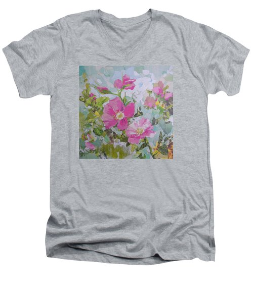 Shrub Roses Men's V-Neck T-Shirt by Robin Birrell