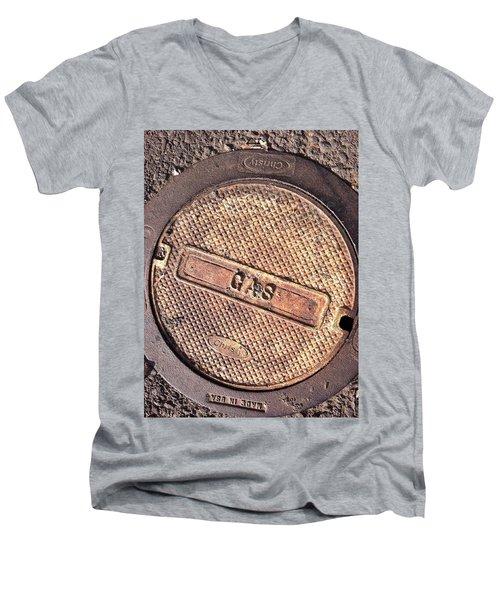 Men's V-Neck T-Shirt featuring the photograph Sidewalk Gas Cover by Bill Owen