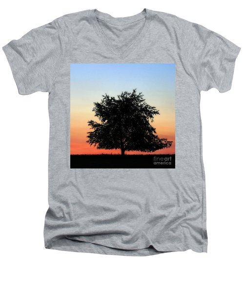 Make People Happy  Square Photograph Of Tree Silhouette Against A Colorful Summer Sky Men's V-Neck T-Shirt