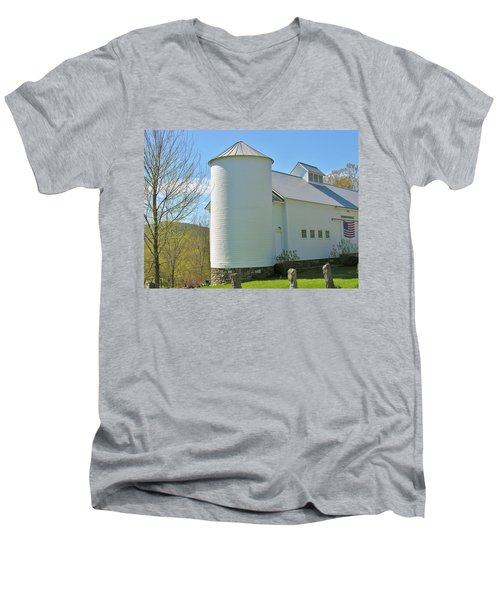 Men's V-Neck T-Shirt featuring the photograph Vermont Silo And Barn  by Sherman Perry