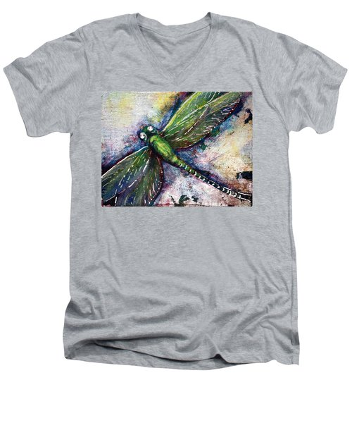 Silver Dragonfly Men's V-Neck T-Shirt