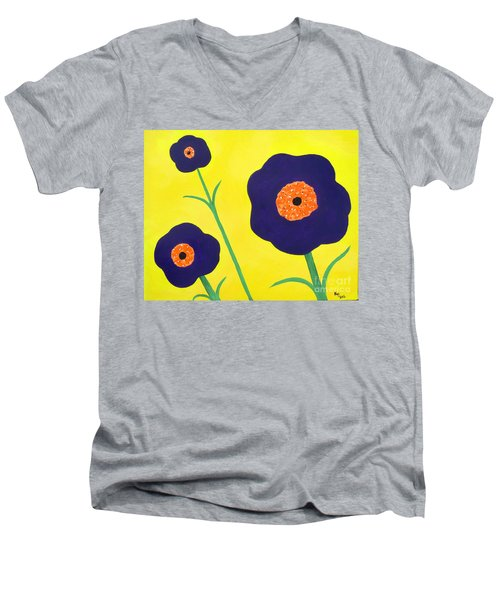 Men's V-Neck T-Shirt featuring the painting Sky High Flowers by Alys Caviness-Gober