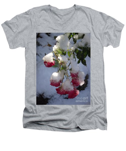 Snow Covered Roses Men's V-Neck T-Shirt
