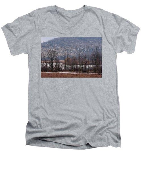 Snow Geese Rising Men's V-Neck T-Shirt