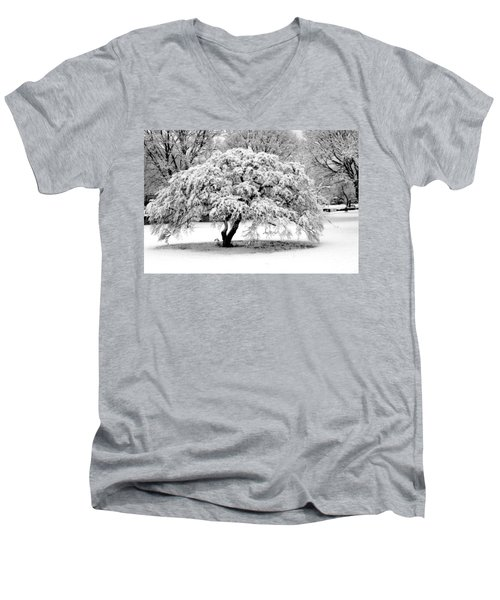 Snow In Connecticut Men's V-Neck T-Shirt by John Scates