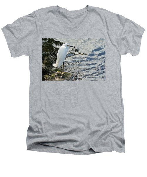Snowy Egret 2 Men's V-Neck T-Shirt by Joe Faherty