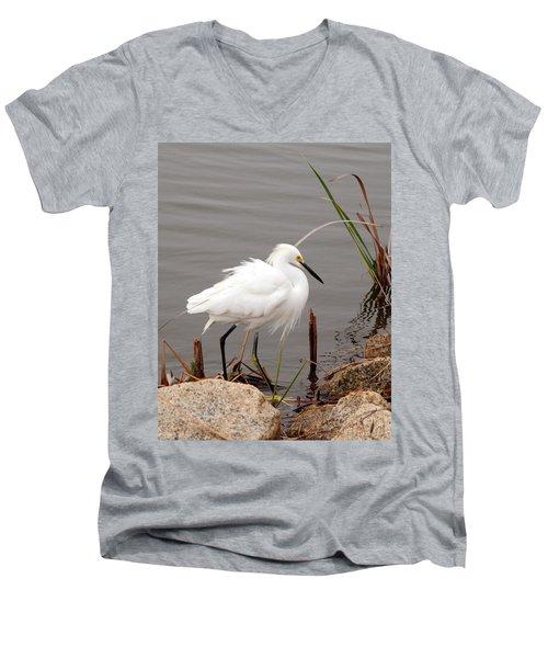 Snowy Egret Men's V-Neck T-Shirt by Kay Lovingood