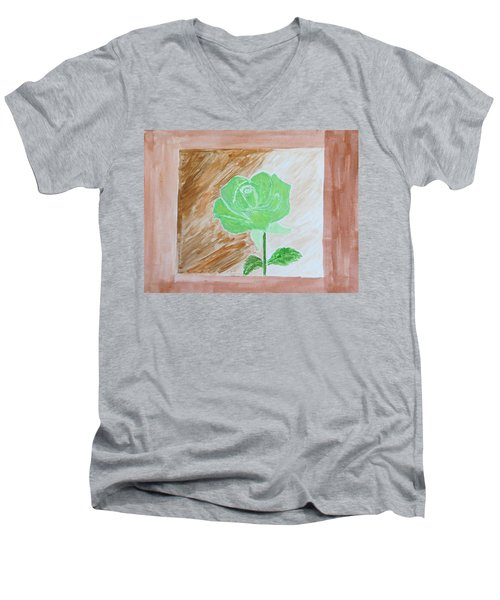 Men's V-Neck T-Shirt featuring the painting Solitary Rose by Sonali Gangane