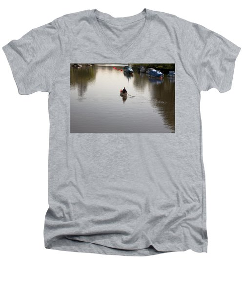 Men's V-Neck T-Shirt featuring the photograph Solo Rowing by Maj Seda