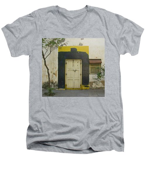 Men's V-Neck T-Shirt featuring the photograph Somebody's Door by David Pantuso