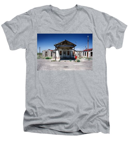 Men's V-Neck T-Shirt featuring the photograph Somewhere On The Old Pecos Highway Number 4 by Lon Casler Bixby