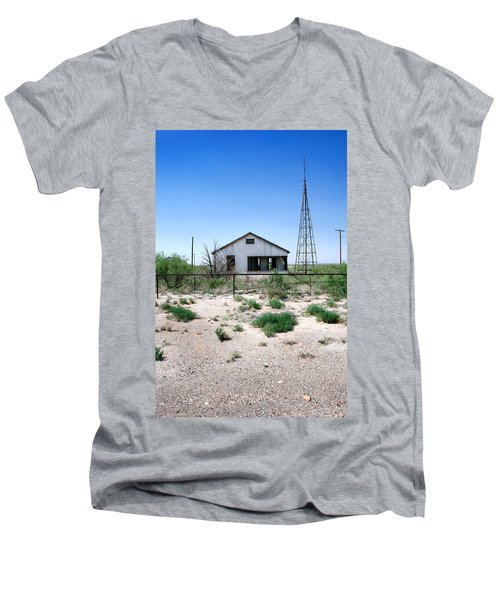 Men's V-Neck T-Shirt featuring the photograph Somewhere On The Old Pecos Highway Number 5 by Lon Casler Bixby