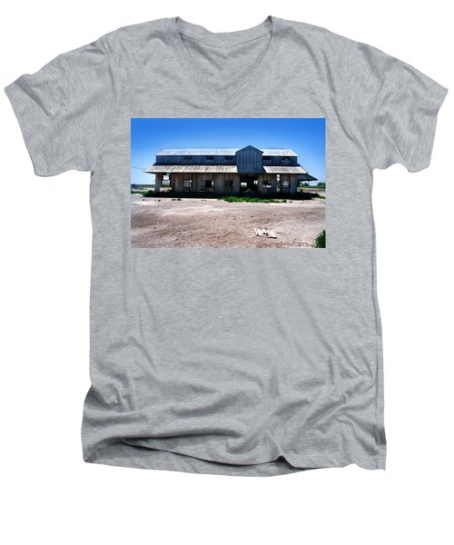 Men's V-Neck T-Shirt featuring the photograph Somewhere On The Old Pecos Highway Number 6 by Lon Casler Bixby