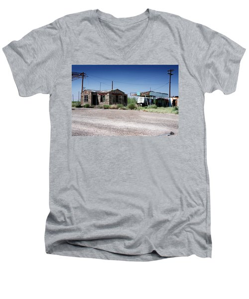 Men's V-Neck T-Shirt featuring the photograph Somewhere On The Old Pecos Highway Number 8 by Lon Casler Bixby