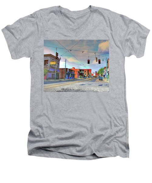 Men's V-Neck T-Shirt featuring the photograph South Main Street Memphis by Lizi Beard-Ward