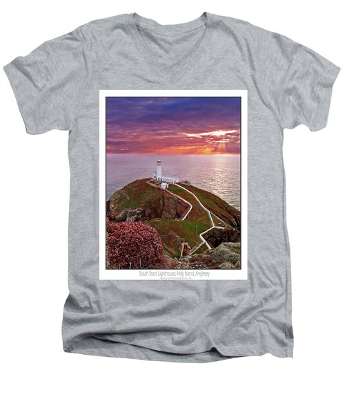 Men's V-Neck T-Shirt featuring the photograph South Stack Lighthouse by Beverly Cash