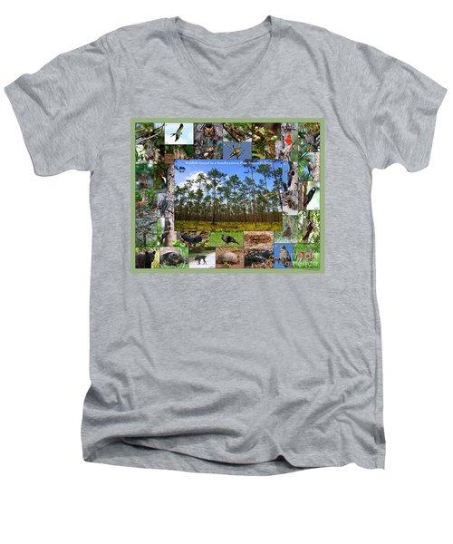 Southeastern Pine Forest Wildlife Poster Men's V-Neck T-Shirt