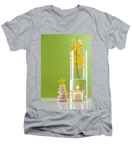 Spa Concepts With Green Background Men's V-Neck T-Shirt