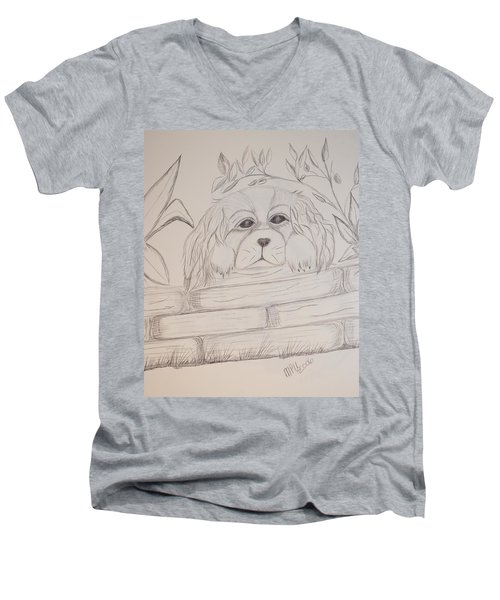 Men's V-Neck T-Shirt featuring the drawing Spaniel Pup by Maria Urso
