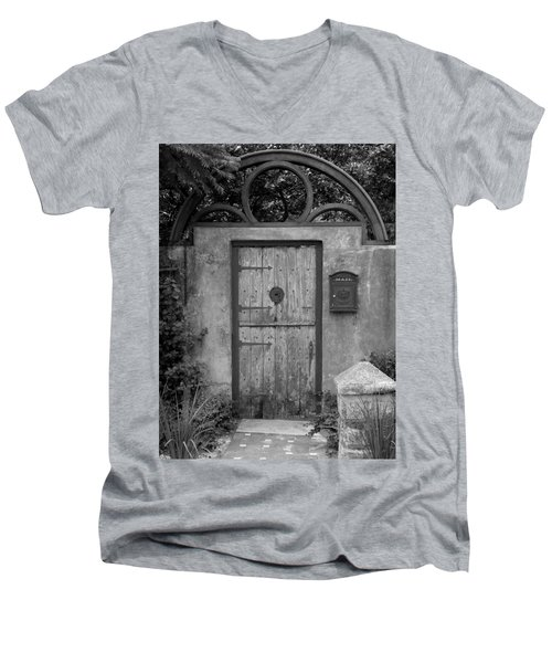 Spanish Renaissance Courtyard Door Men's V-Neck T-Shirt by Judy Wanamaker