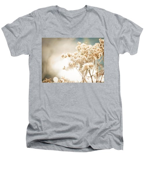 Men's V-Neck T-Shirt featuring the photograph Sparkly Weeds by Cheryl Baxter