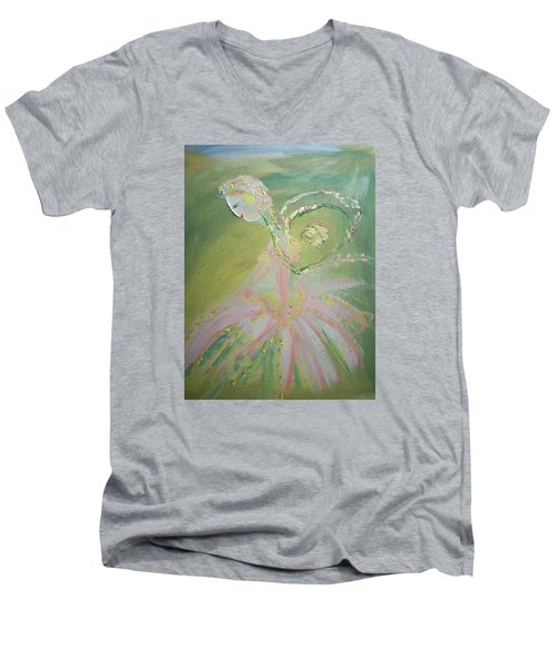 Spring Fairy Entrance Men's V-Neck T-Shirt by Judith Desrosiers