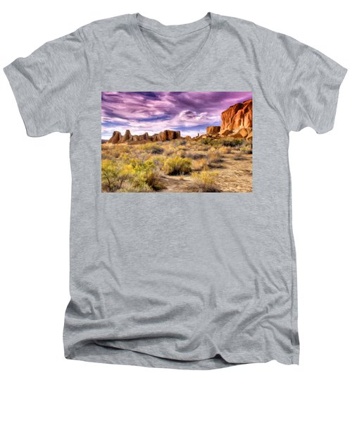 Spring Rain At Chaco Canyon Men's V-Neck T-Shirt