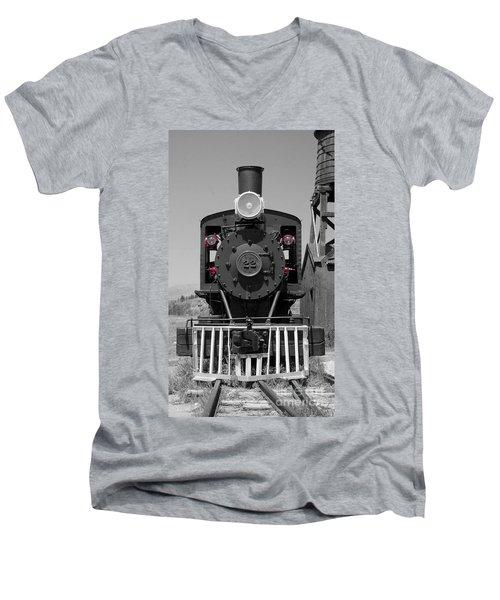 Men's V-Neck T-Shirt featuring the photograph Steam Engine Train by Deniece Platt