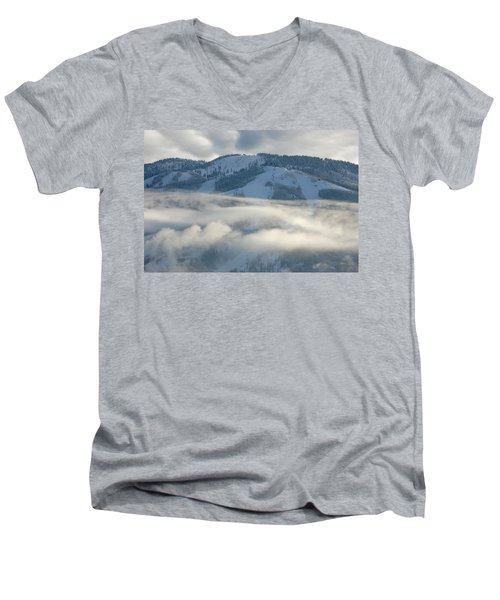 Men's V-Neck T-Shirt featuring the photograph Steamboat Ski Area In Clouds by Don Schwartz