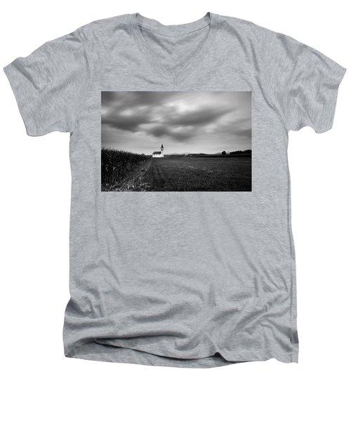 Storm Clouds Gather Over Church Men's V-Neck T-Shirt