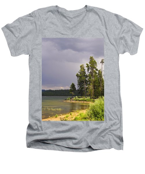 Men's V-Neck T-Shirt featuring the photograph Storm Clouds Over A Lake by Anne Mott