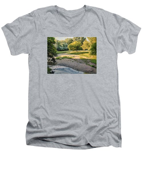 Summer Evening Along The Creek Men's V-Neck T-Shirt by Bruce Morrison