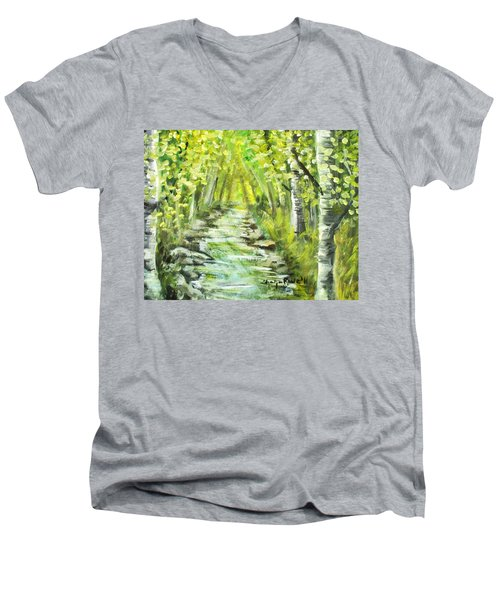 Men's V-Neck T-Shirt featuring the painting Summer by Shana Rowe Jackson