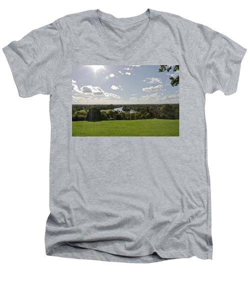 Men's V-Neck T-Shirt featuring the photograph Sun Glare by Maj Seda