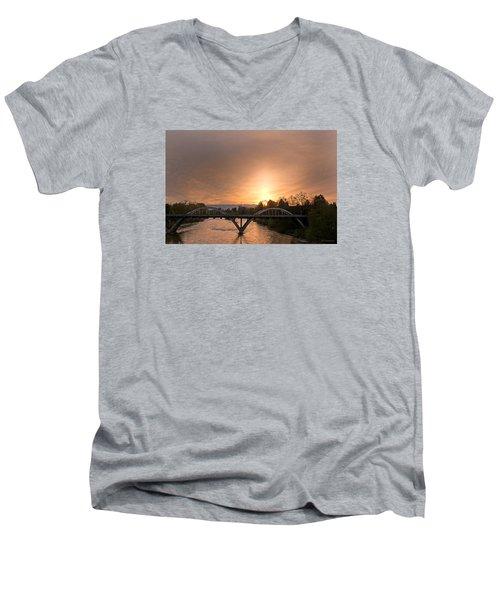 Sunburst Sunset Over Caveman Bridge Men's V-Neck T-Shirt by Mick Anderson