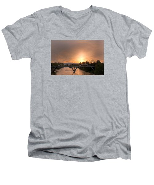 Sunburst Sunset Over Caveman Bridge Men's V-Neck T-Shirt