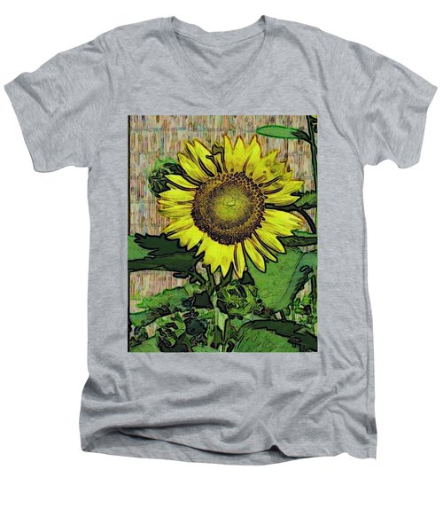 Sunflower Face Men's V-Neck T-Shirt by Alec Drake