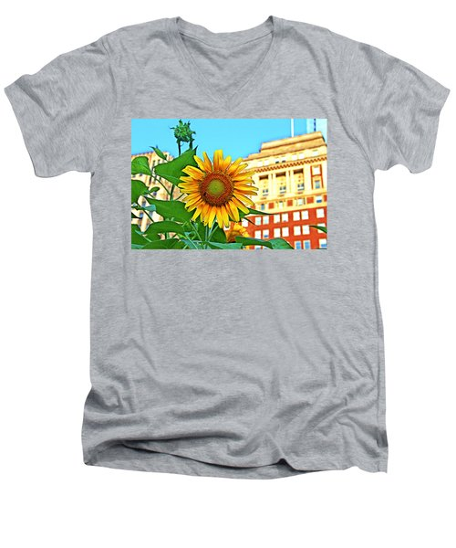 Men's V-Neck T-Shirt featuring the photograph Sunflower In The City by Alice Gipson