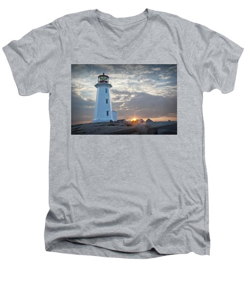 Sunrise At Peggys Cove Lighthouse In Nova Scotia Number 041 Men's V-Neck T-Shirt