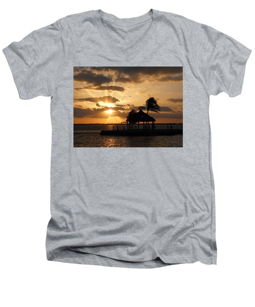 Men's V-Neck T-Shirt featuring the photograph Sunrise Over Bay by Clara Sue Beym