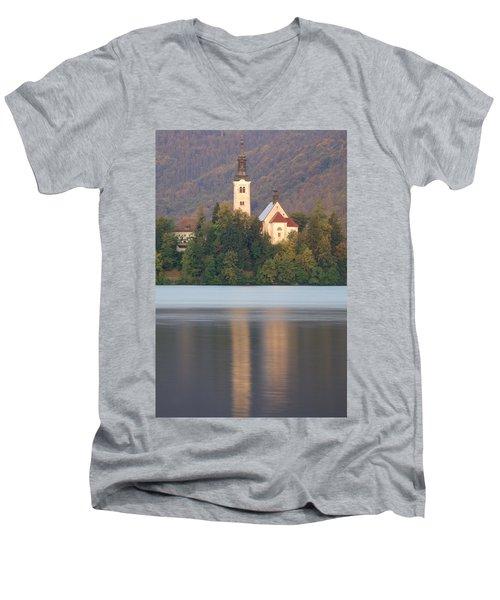 Sunrise Over Lake Bled And The Island Church Men's V-Neck T-Shirt