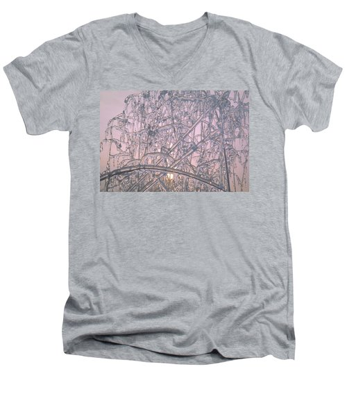 Men's V-Neck T-Shirt featuring the photograph Sunrise Through Ice Covered Shrub by Tom Wurl