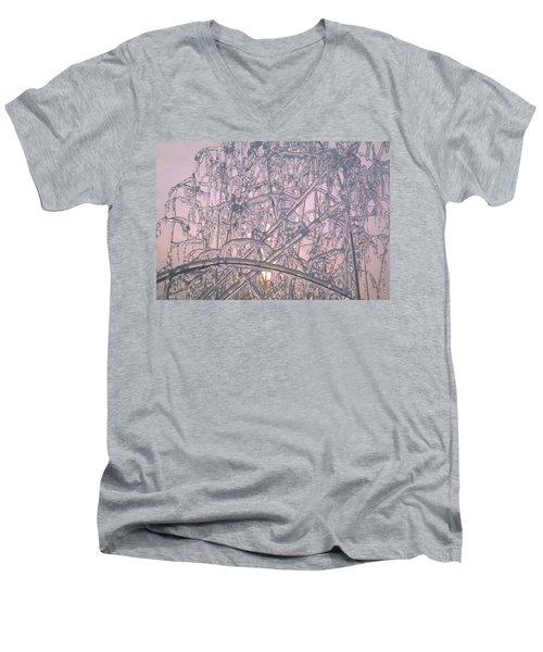 Sunrise Through Ice Covered Shrub Men's V-Neck T-Shirt