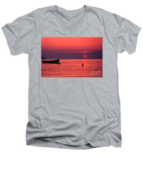 Men's V-Neck T-Shirt featuring the photograph Sunset In Elba Island by Luciano Mortula