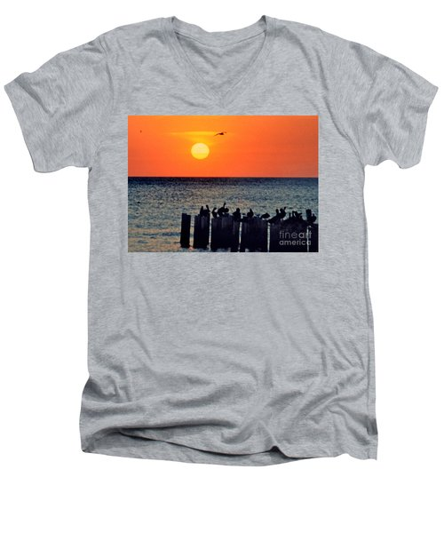 Men's V-Neck T-Shirt featuring the photograph Sunset In Florida by Lydia Holly